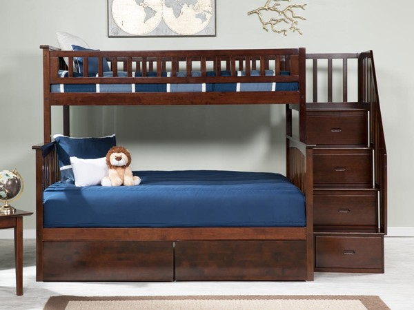 Atlantic Furniture Columbia Walnut Staircase Twin Over Full Bunk Bed with Two Urban Drawers AB55744