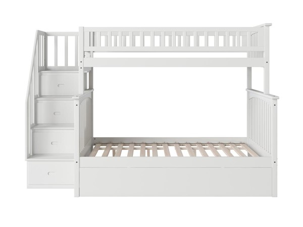 Atlantic Furniture Columbia White Staircase Twin Over Full Bunk Bed with Twin Urban Trundle AB55752