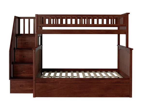 Atlantic Furniture Columbia Walnut Staircase Twin Over Full Bunk Bed with Twin Urban Trundle AB55754