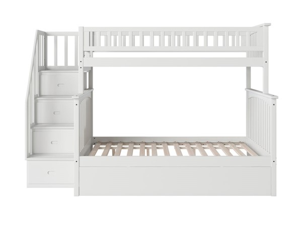 Atlantic Furniture Columbia White Staircase Twin Over Full Urban Trundle Bunk Bed AB55772