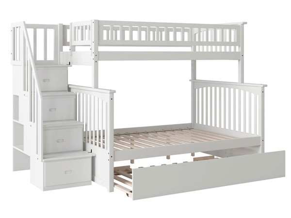Atlantic Furniture Columbia White Staircase Twin Over Full Urban Trundle Bunk Beds AB5577-BB-VAR