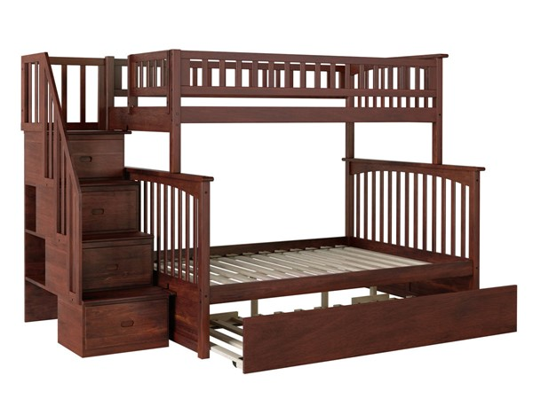 Atlantic Furniture Columbia Walnut Staircase Twin Over Full Urban Trundle Bunk Bed AB55774