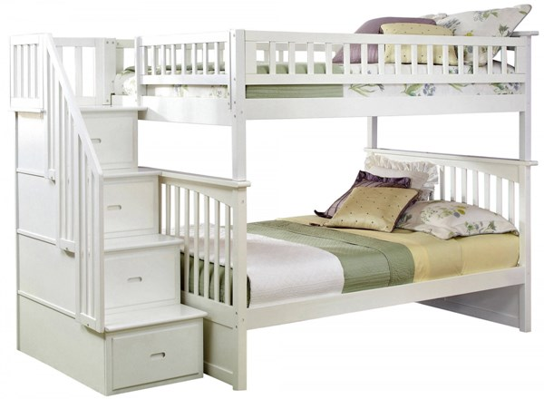 Columbia White Wood Staircase Full/Full Bunk Bed AB55802