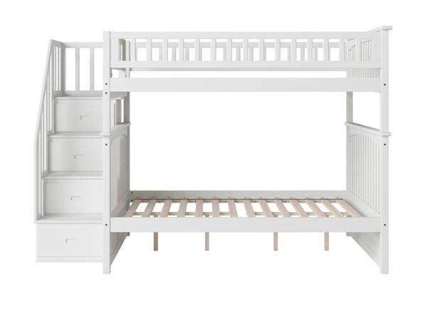 Atlantic Furniture Columbia White Staircase Full Over Full Bunk Bed AB55802