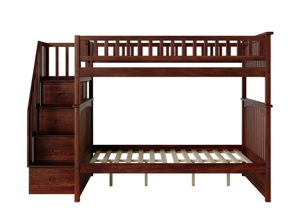 Atlantic Furniture Columbia Walnut Staircase Full Over Full Bunk Bed AB55804