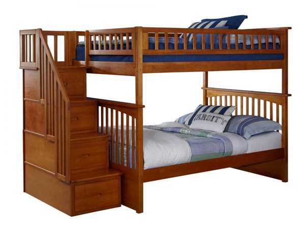 Columbia Caramel Latte Wood Staircase Full/Full Bunk Bed AB55807