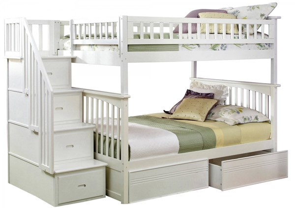 Columbia White Staircase Full/Full Flat Panel Drawers Bunk Bed AB55812