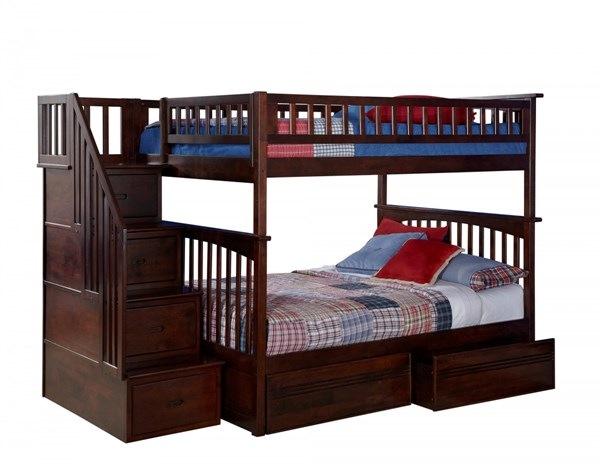 Columbia Walnut Staircase Full/Full Flat Panel Drawers Bunk Bed AB55814
