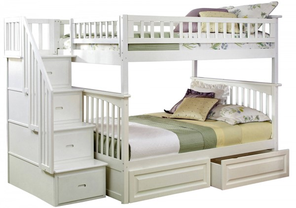Columbia White Staircase Full/Full Raised Panel Drawers Bunk Bed AB55822