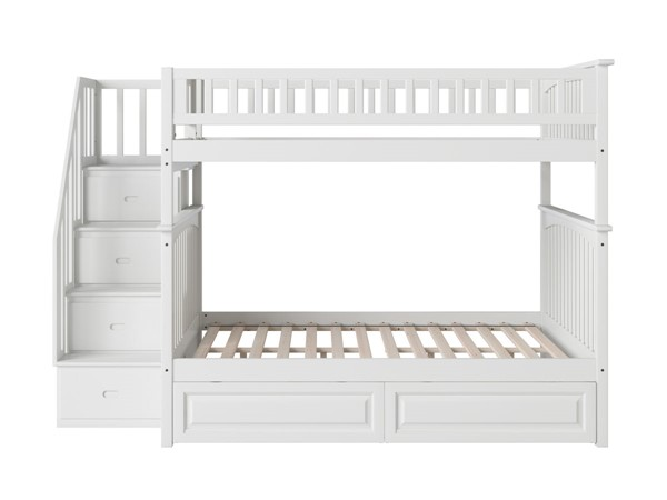 Atlantic Furniture Columbia White Staircase Full Over Full Bunk Bed with Raised Panel Drawers AB55822