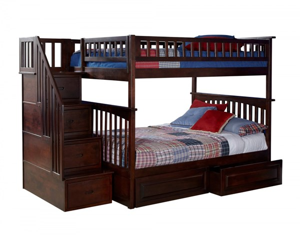 Columbia Walnut Staircase Full/Full Raised Panel Drawers Bunk Bed AB55824
