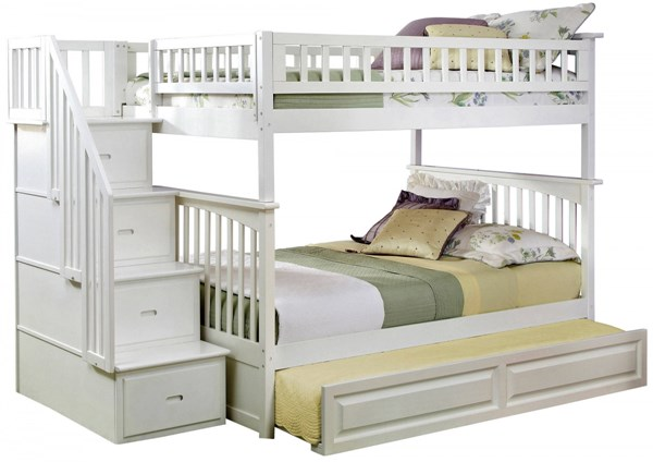 Columbia White Staircase Full/Full Raised Panel Trundle Bunk Bed AB55832