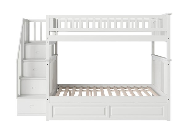 Atlantic Furniture Columbia White Staircase Full Over Full Bunk Bed with Raised Panel Trundle AB55832