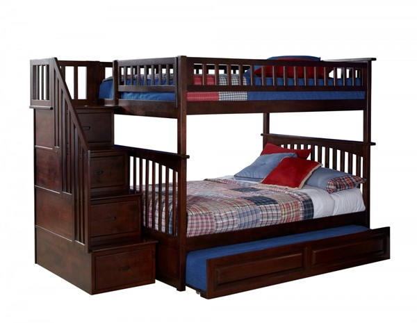Columbia Walnut Staircase Full/Full Raised Panel Trundle Bunk Bed AB55834