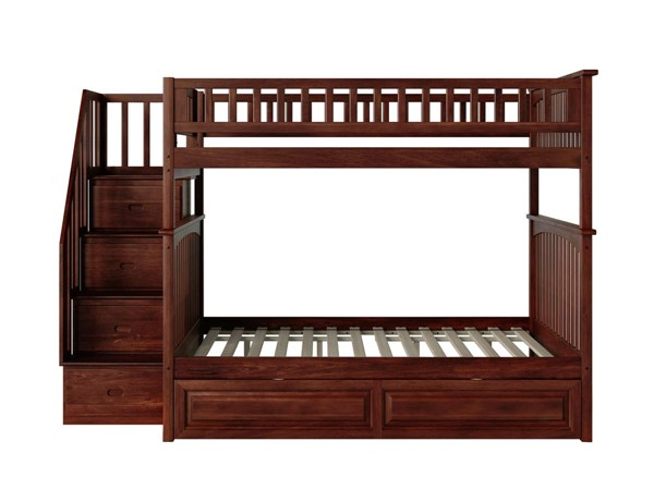 Atlantic Furniture Columbia Walnut Staircase Full Over Full Bunk Bed with Raised Panel Trundle AB55834