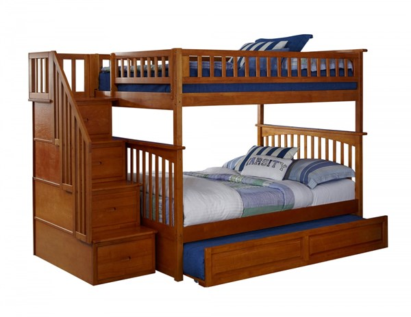 Columbia Caramel Staircase Full/Full Raised Panel Trundle Bunk Bed AB55837