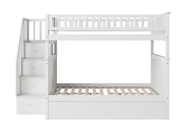 Atlantic Furniture Columbia White Staircase Full Over Full Bunk Bed with Two Urban Drawers AB55842
