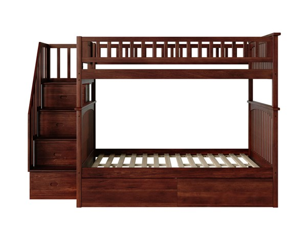 Atlantic Furniture Columbia Walnut Staircase Full Over Full Bunk Bed with Two Urban Drawers AB55844