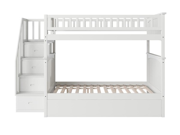 Atlantic Furniture Columbia White Staircase Full Over Full Bunk Bed with Twin Urban Trundle AB55852