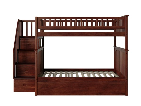 Atlantic Furniture Columbia Walnut Staircase Full Over Full Bunk Bed with Twin Urban Trundle AB55854