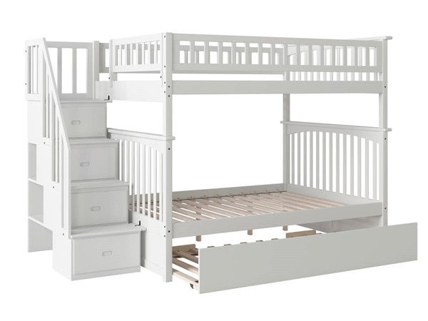 Atlantic Furniture Columbia White Staircase Full Over Full Urban Trundle Bunk Bed AB55872