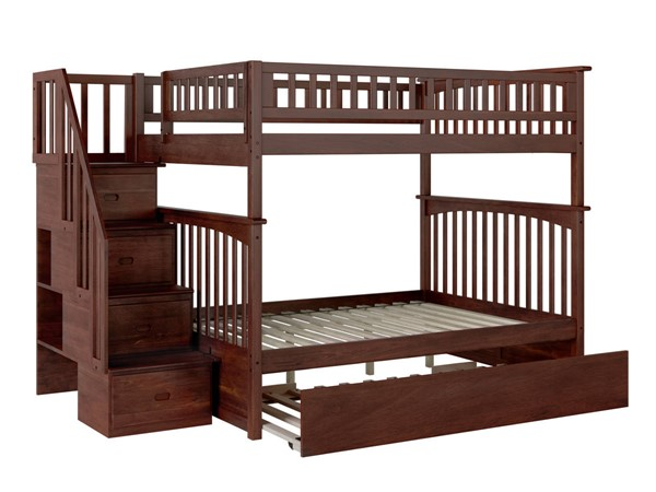 Atlantic Furniture Columbia Walnut Staircase Full Over Full Urban Trundle Bunk Bed AB55874