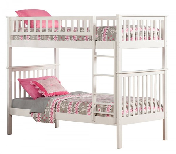 Woodland White Wood Twin/Twin Built In Ladder Bunk Bed AB56102