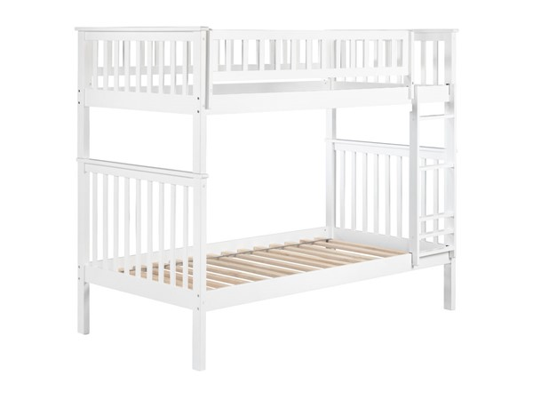 Atlantic Furniture Woodland White Twin Over Twin Bunk Bed AB56102