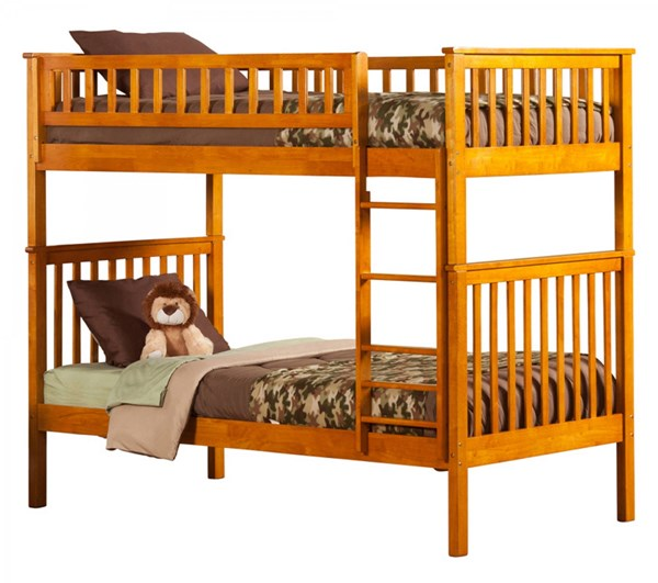 Woodland Caramel Latte Wood Twin/Twin Built In Ladder Bunk Bed AB56107
