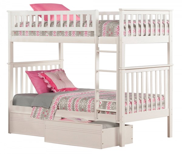 Atlantic Furniture Woodland Flat Panel Bed Drawers Bunk Beds AB561-12-14-17-BB-VAR