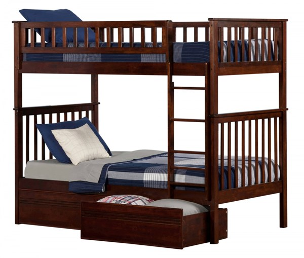 Woodland Walnut Wood Twin/Twin Flat Panel Drawers Bunk Bed AB56114