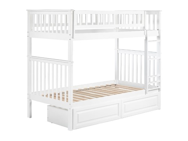 Atlantic Furniture Woodland White Raised Panel Drawers Twin Over Twin Bunk Bed AB56122