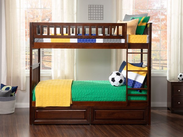 Atlantic Furniture Woodland Walnut Raised Panel Drawers Twin Over Twin Bunk Bed AB56124