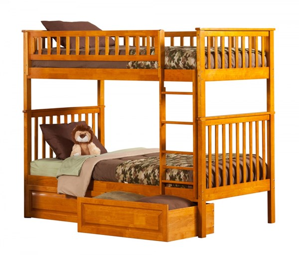 Woodland Caramel Latte Wood Twin/Twin Raised Panel Drawers Bunk Bed AB56127
