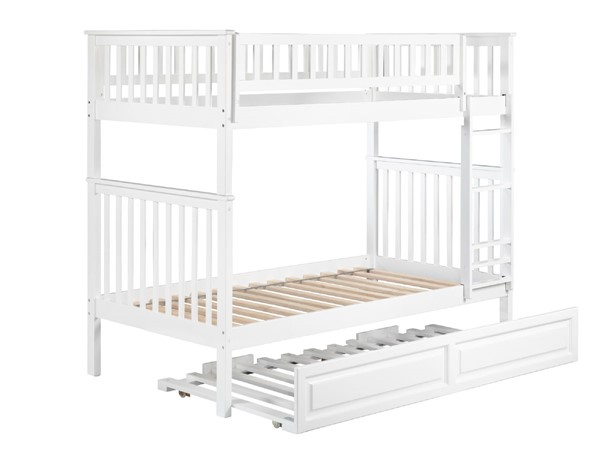 Atlantic Furniture Woodland White Raised Panel Trundle Twin Over Twin Bunk Bed AB56132