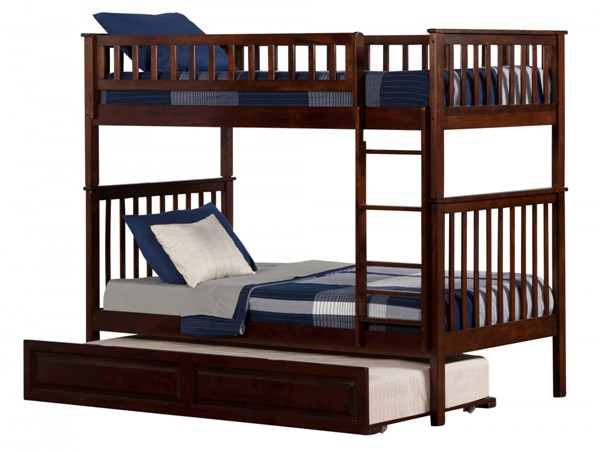 Woodland Walnut Wood Twin/Twin Raised Panel Trundle Bunk Bed AB56134