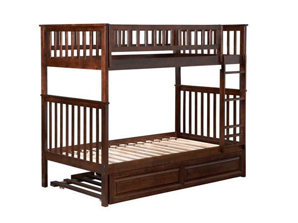Atlantic Furniture Woodland Walnut Raised Panel Trundle Twin Over Twin Bunk Bed AB56134