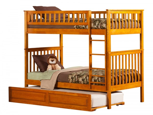 Woodland Caramel Latte Twin/Twin Raised Panel Trundle Bunk Bed AB56137