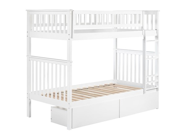 Atlantic Furniture Woodland White Twin Over Twin Urban Drawers Bunk Bed AB56142