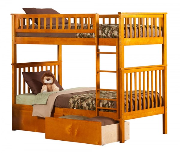 Woodland Caramel Latte Wood Twin/Twin Urban Drawers Bunk Bed AB56147