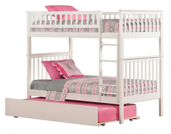 Atlantic Furniture Woodland White Urban Trundle Bunk Beds AB56152-54-57-BB-VAR