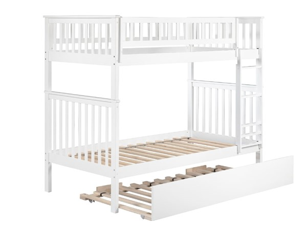 Atlantic Furniture Woodland White Twin Over Twin Urban Trundle Bunk Bed AB56152