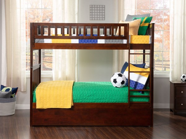 Atlantic Furniture Woodland Walnut Twin Over Twin Urban Trundle Bunk Bed AB56154