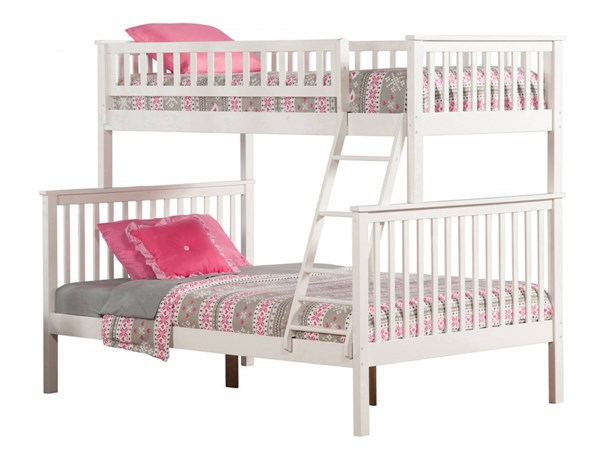 Woodland White Wood Twin/Full Built In Ladder Bunk Bed AB56202