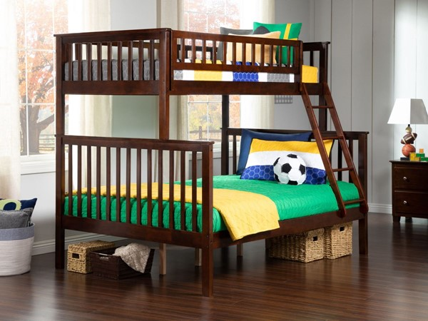 Atlantic Furniture Woodland Walnut Twin Over Full Bunk Bed AB56204
