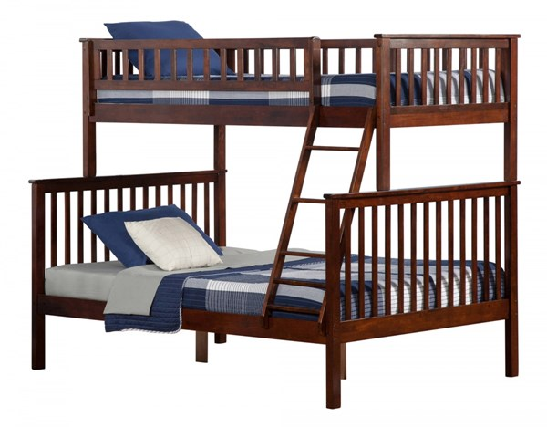 Woodland Walnut Wood Twin/Full Built In Ladder Bunk Bed AB56204