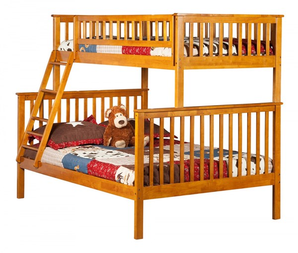 Woodland Caramel Latte Wood Twin/Full Built In Ladder Bunk Bed AB56207