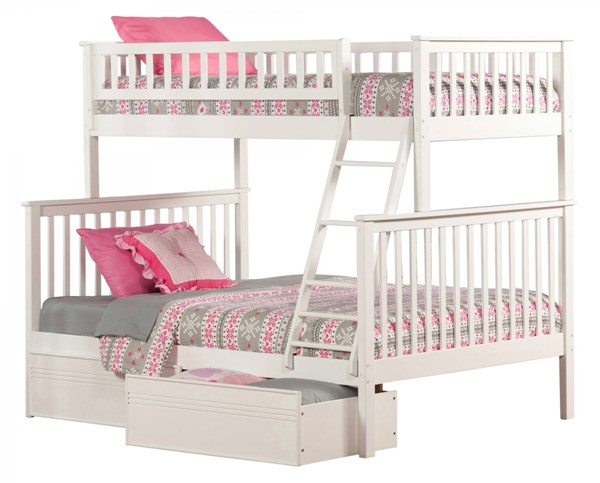 Woodland White Wood Twin/Full Flat Panel Drawer Bunk Bed AB56212