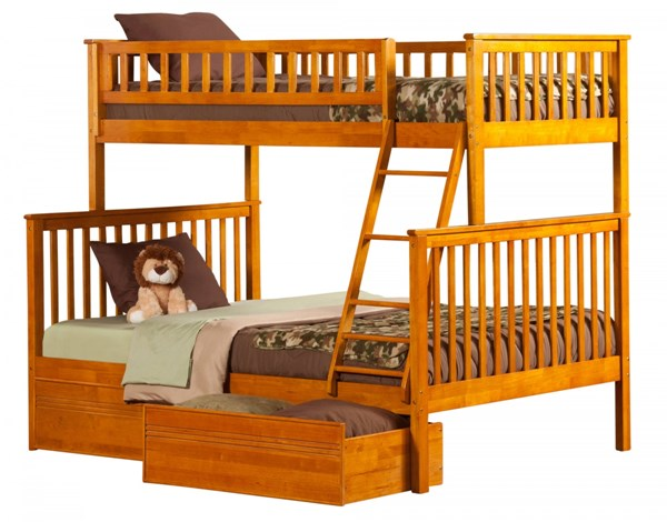 Woodland Caramel Latte Wood Twin/Full Flat Panel Drawers Bunk Bed AB56217