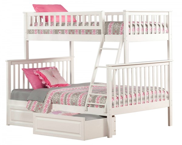 Woodland White Wood Twin/Full Raised Panel Drawers Bunk Bed AB56222